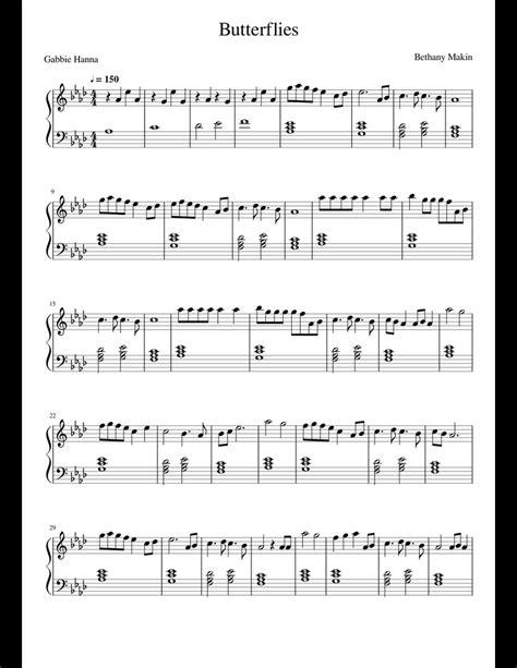 Butterflies By Gabbie Hanna Backing  music sheet