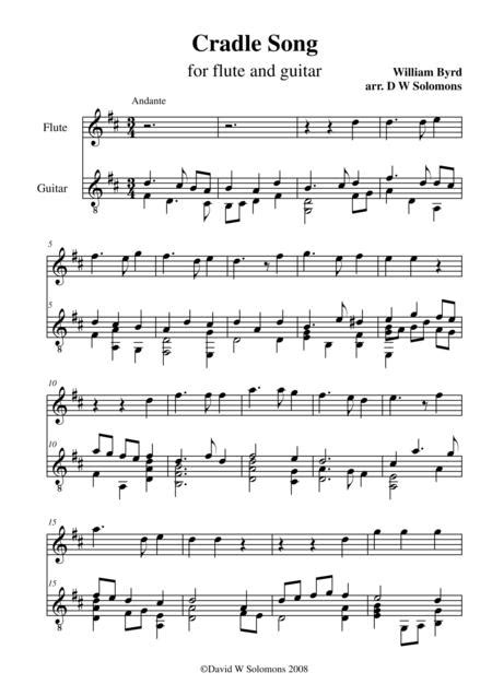 Byrds Cradle Song For Flute And Guitar  music sheet