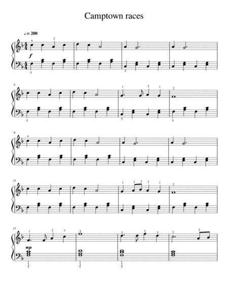 Camptown Races Intermediate Piano  music sheet