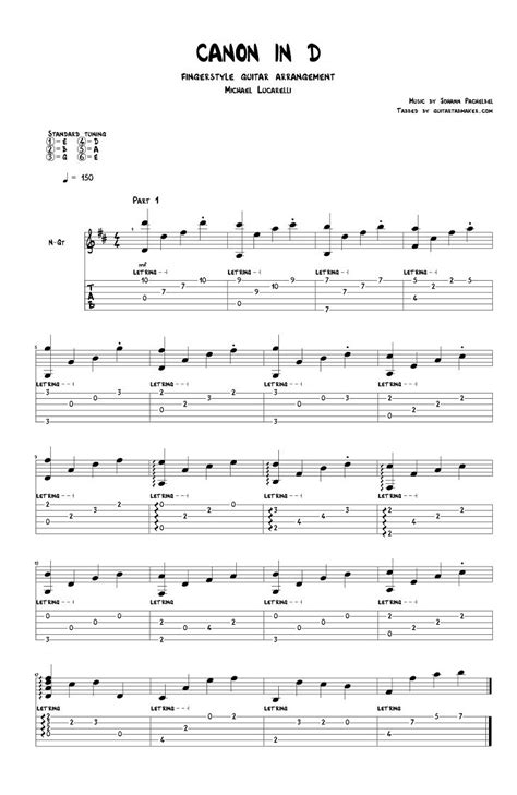 Canon In D For Classical Guitar Tablature  music sheet