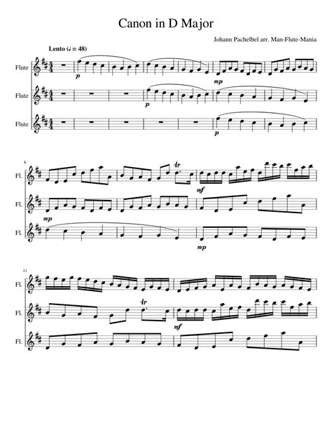 Canon In D Trio For Flute Guitar And Piano  music sheet