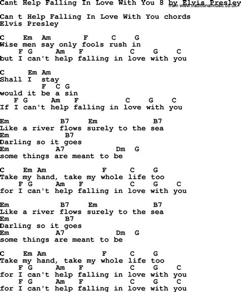 cant help falling in love easy guitar chords and lyrics music sheet
