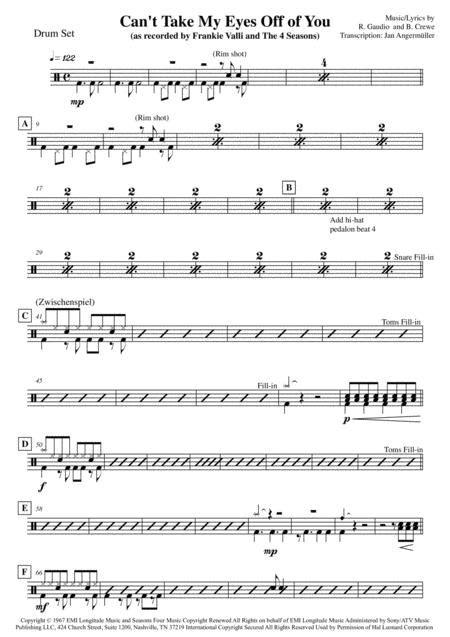 Cant Take My Eyes Off Of You Drum Set Transcription Of Original Frankie Valli Recording  music sheet