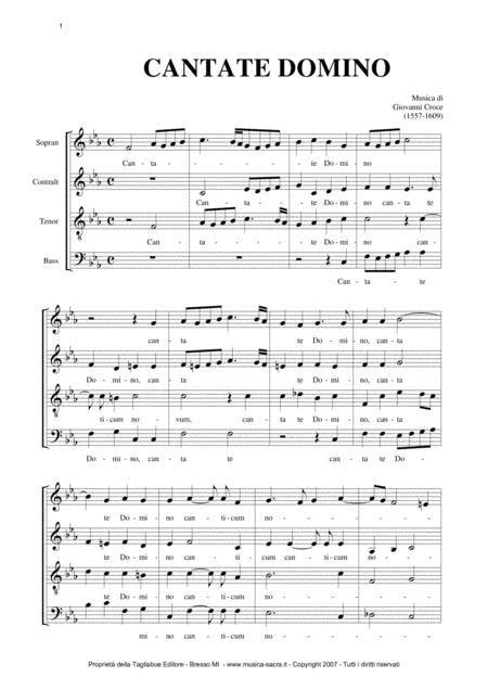 Cantate Domino Giovanni Croce Part For Tenor  music sheet