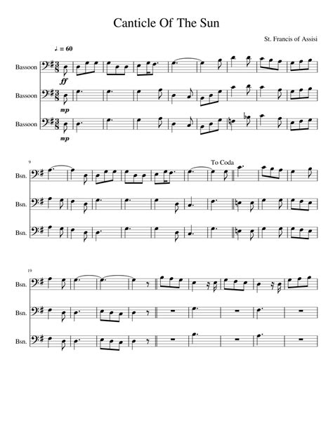 Canticle Of The Sun  music sheet