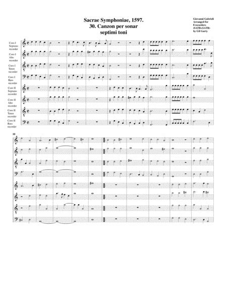 Canzon No 29 A8 1597 Arrangement For 8 Recorders  music sheet