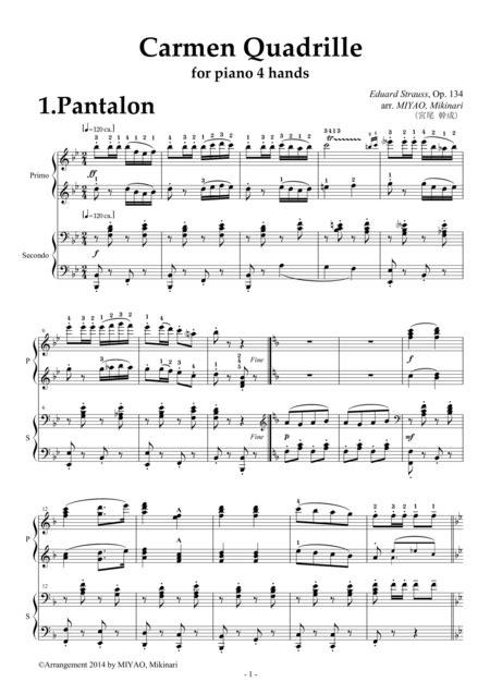 Carmen Quadrille Op 134 Piano Duet  music sheet