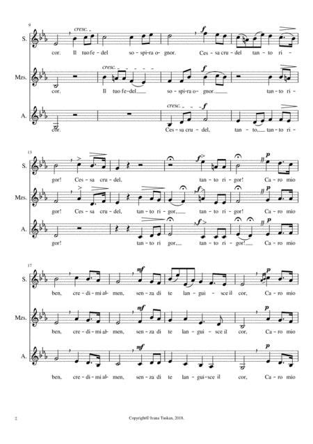 Caro Mio Ben Ssa E Flat Major  music sheet