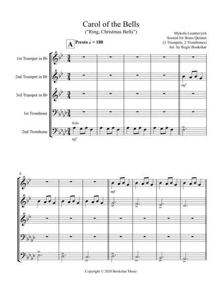 Carol Of The Bells F Min Brass Quintet 3 Trp 2 Hrn  music sheet
