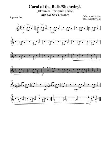 Carol Of The Bells Shchedryk Ukrainian Christmas Carol Arr For Sax Quartet  music sheet
