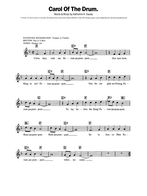 Carol Of The Drum Little Drummer Boy For Bb Trumpet Solo And Piano  music sheet