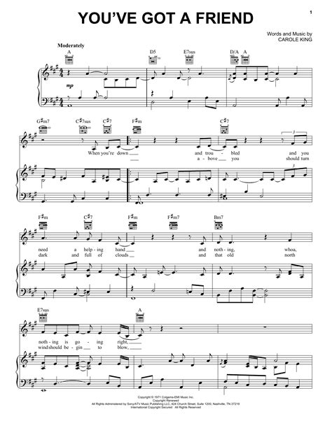 Carole King You Ve Got A Friend For Trumpet Piano  music sheet