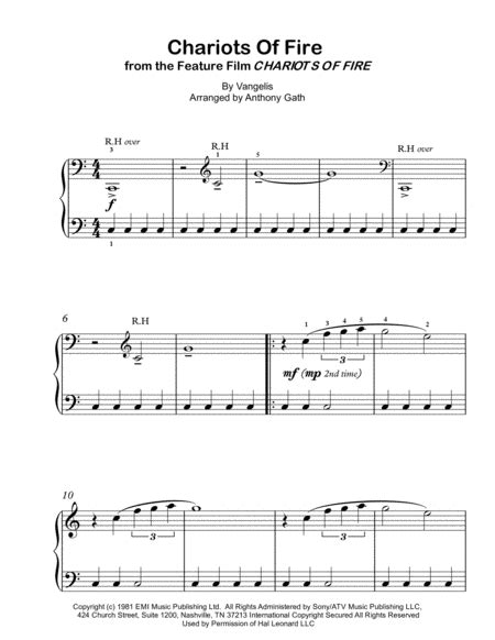 Chariots Of Fire From The Feature Film Chariots Of Fire For Easy Piano  music sheet