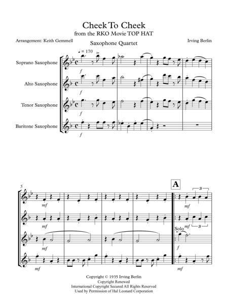 Cheek To Cheek Saxophone Quartet  music sheet