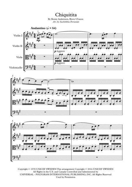 Chiquitita String Quartet  music sheet