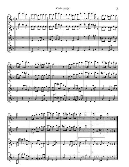 Cholo Coraje Para 4 Flautas Traversas Marinera  music sheet