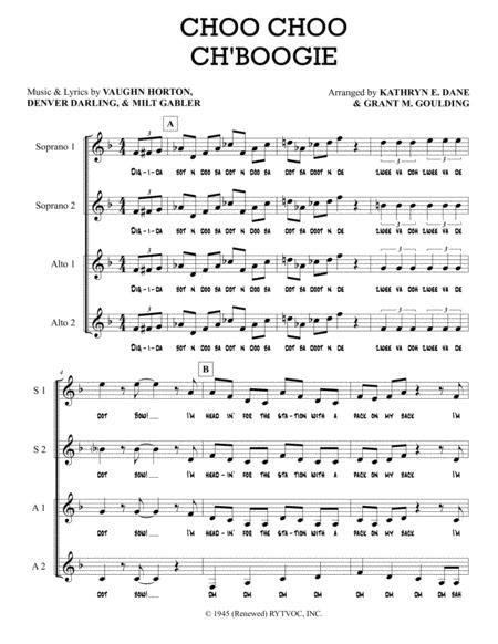 Choo Choo Ch Boogie A Cappella Quartet Ssaa  music sheet