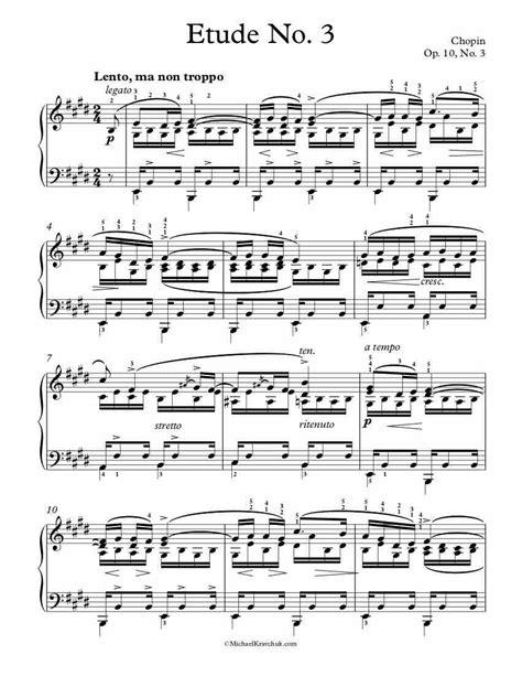 Chopin Op 10 No 3 Tristesse  music sheet