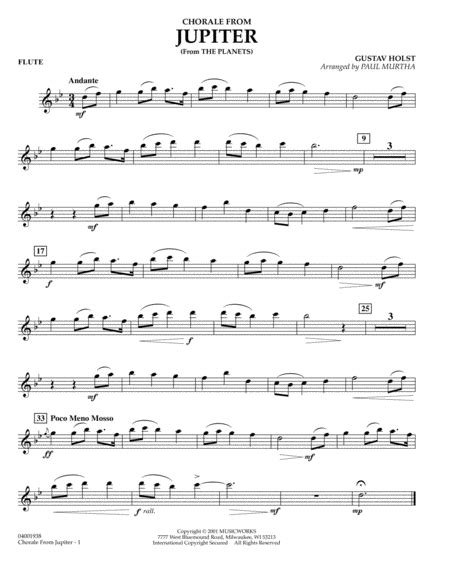 Chorale From Jupiter For Violin And Cello  music sheet