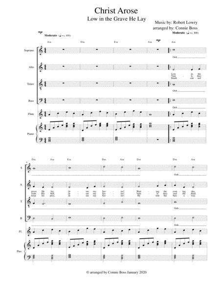 Christ Arose Low In The Grave He Lay Satb With Flute And Piano  music sheet
