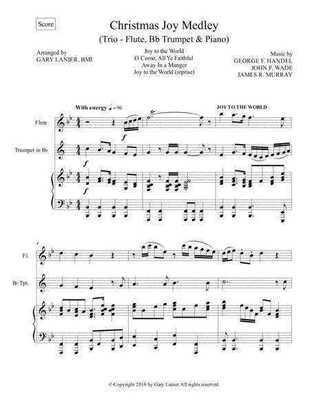 Christmas Joy Medley Trio Violin Bb Trumpet Piano With Parts  music sheet