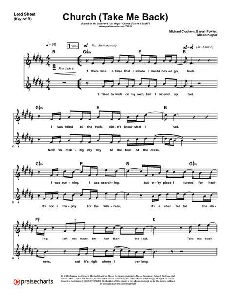 Church Take Me Back  music sheet