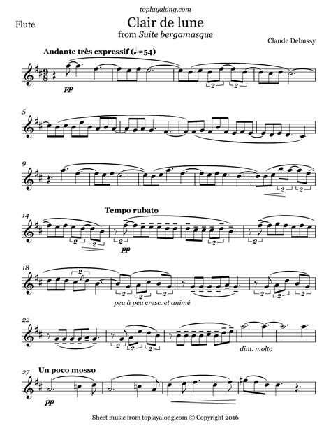 Clair De Lune For Viola And Piano From Suite Bergamasque  music sheet