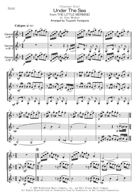 Clarinet Trio Under The Sea From The Little Mermaid  music sheet