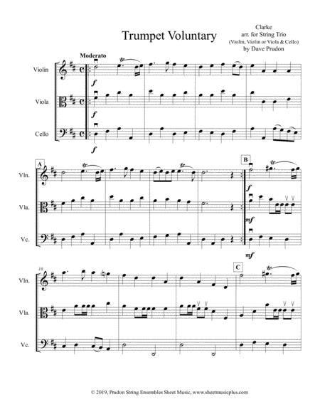 Clarke Trumpet Voluntary For String Trio  music sheet
