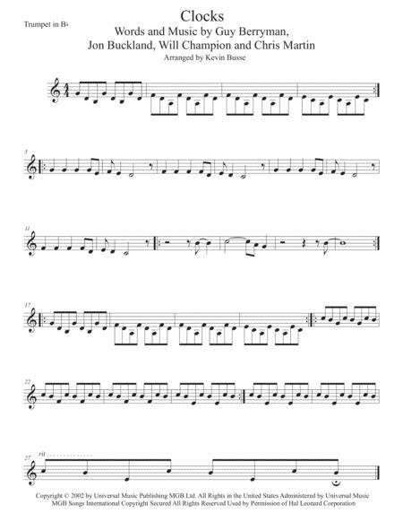 Clocks Original Key Trumpet  music sheet
