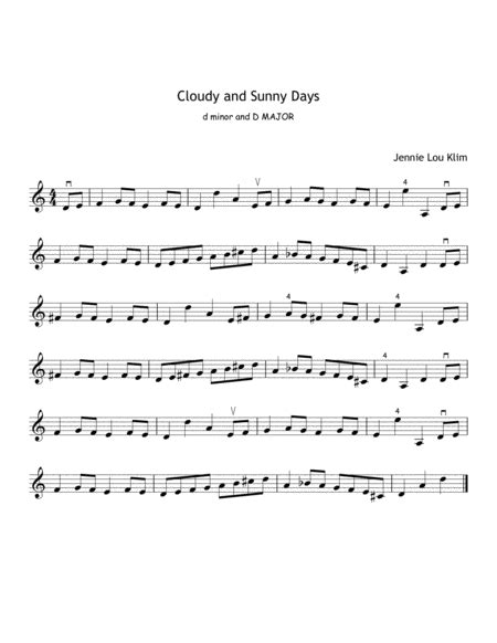 cloudy and sunny days for violin and piano intermediate level music sheet