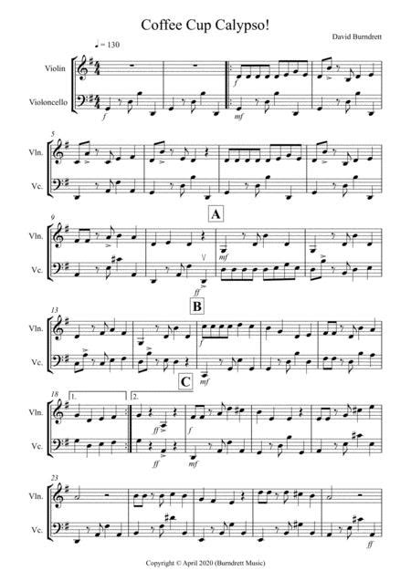 Coffee Cup Calypso For Violin And Double Bass  music sheet