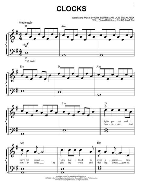 Coldplay Clocks For Tenor Sax Piano  music sheet
