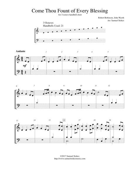 Come Thou Fount Of Every Blessing For 3 Octave Handbell Choir  music sheet