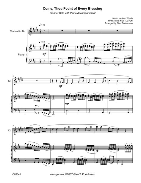 Come Thou Fount Of Every Blessing Harp Solo  music sheet