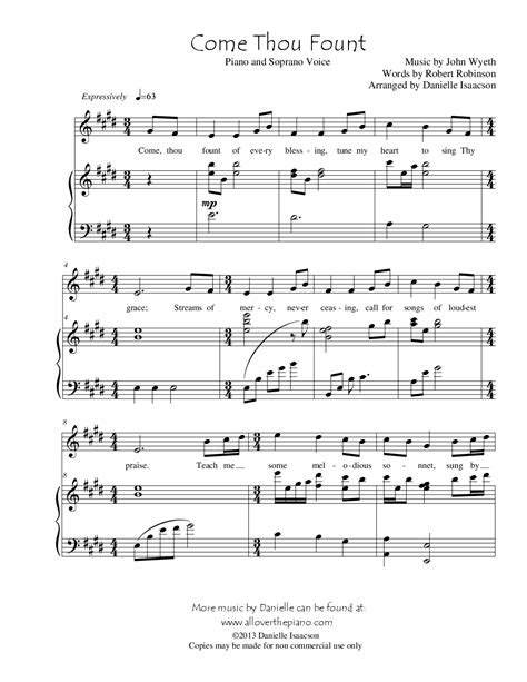 Come Thou Fount Of Every Blessing Soprano Sax And Piano  music sheet