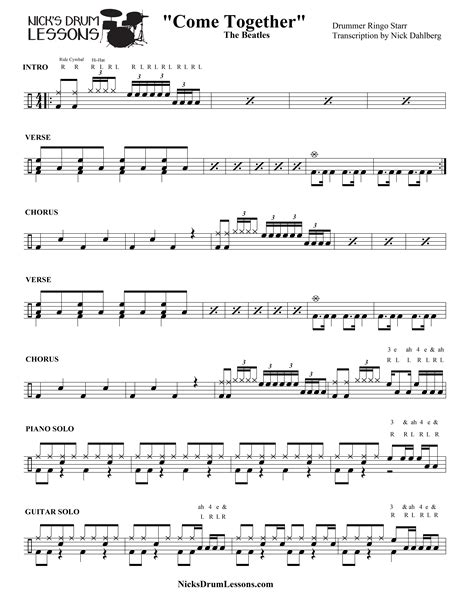 Come Together Full Score And Parts  music sheet