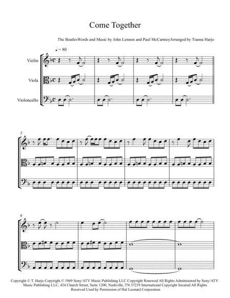 Come Together String Trio Vln Vla Cello  music sheet