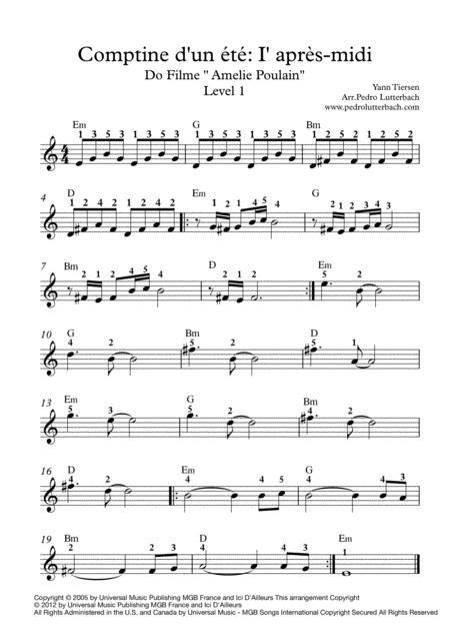 Comptine D Un Autret L Aprs Midi From Amlie Horn Piano  music sheet