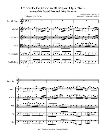 Concerto For English Horn In Bb Major Op 7 No 3  music sheet