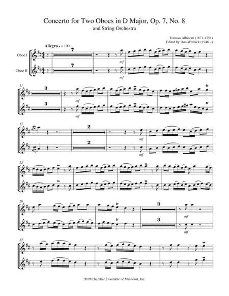 Concerto For Two Oboes In C Major Op 7 No 11 And String Orchestra  music sheet