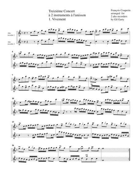Concerto No 13 For 2 Flutes Arrangement For 2 Alto Recorders  music sheet