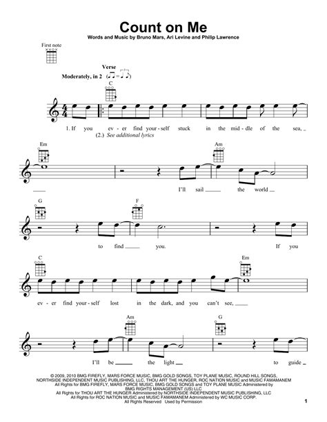 Count On Me Leadsheet For Singalongs  music sheet