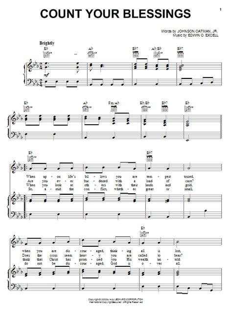 Count Your Blessings Easy Piano Sheet Music Tadpole Edition  music sheet