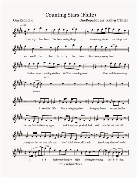 Counting Stars Flute  music sheet