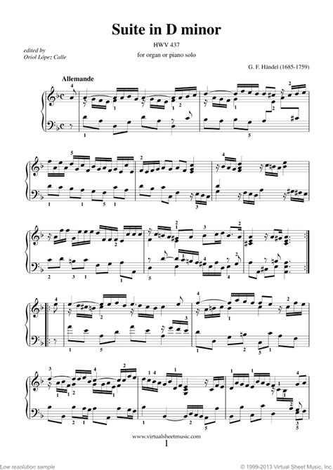 Courante Suite In D Minor Hwv 437 Easiest Piano Sheet Music Tadpole  music sheet
