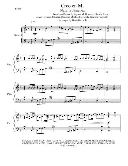 Creo En Mi Piano Solo  music sheet
