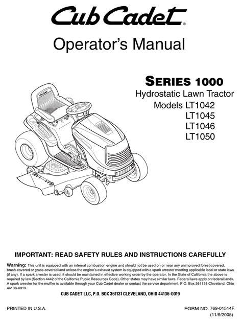 free download ebooks Cub Cadet Tractor Lt1042 Manual.pdf