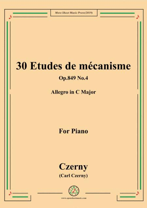 Czerny 30 Etudes De Mcanisme Op 849 No 20 Allegro Piacevole F Major For Piano  music sheet