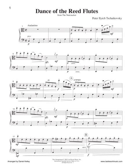 Dance Of The Reed Flutes From The Nutcracker For Violin Viola Duet Music For Two Or Flute Or Oboe Viola  music sheet